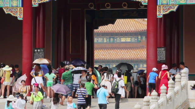 MS Shot of tourists visiting forbidden city / Beijing, China
