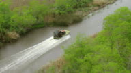 WS AERIAL TS Shot of tracking airboat through canal / Louisiana, United States