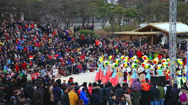 MS Shot of traditional Korean music performance group playing in Namsan Folk Village AUDIO/ Seoul, Seoul, South Korea