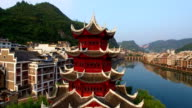 WS AERIAL shot of Traditional pagoda along Wuyang River,Guizhou,China.