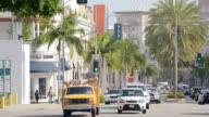 MS T/L Shot of traffic at Rodeo Drive Beverly Hills / Beverly Hills, California, United States