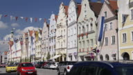 MS Shot of Traffic in decorated Old town / Landshut, Bavaria, Germany