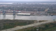 MS AERIAL PAN Shot of traffic moving on Arthur Ravenel Jr Bridge / South Carolina, United States