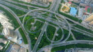 T/L AERIAL Shot of traffic moving on overpasses/Xi'an,China.