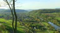 WS Shot of traffic moving on road at Saar Valley near Kanzem / Kanzem, Rhineland Palatinate, Germany