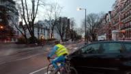 MS T/L Shot of Traffic moving on road at twilight / London, United Kingdom