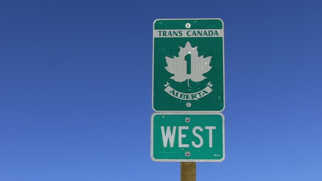 CU Shot of traffic sign board at Transcanada Highway / Banff Nationalpark, Alberta, Canada