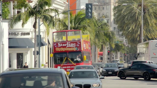 MS Shot of trafic at Rodeo Drive Beverly Hills / Beverly Hills, California, United States