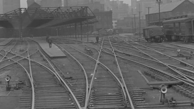 MS POV Shot of train pulling out of train yard, possibly La Salle or Sante Fe station