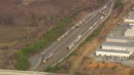 MS AERIAL Shot of train tracks near BMW Assembly Plant near Greenville / South Carolina, United States