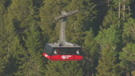 CU AERIAL TS Shot of tram moving up hill at Jackson Hole Mountain Resort / Jackson Wyoming United States