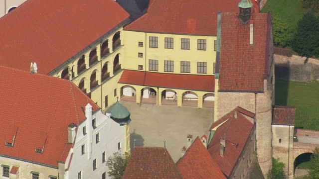 MS AERIAL Shot of Trausnitz castle at Landshut / Germany
