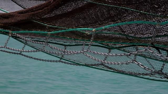 CU PAN Shot of Trawler net on sea / Northern Territory, Australia