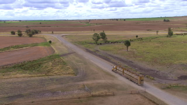 MS TS AERIAL Shot of truck moving on dirt road near feedlot / Roma, Queensland, Australia