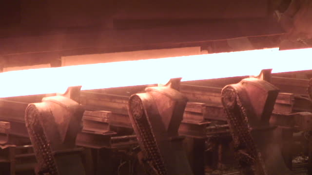 MS Shot of tube production at steel mill / Mulheim, North Rhine Westphalia, Germany