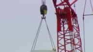 CU TD Shot of Turbine base with crane / Macarthur, Victoria, Australia
