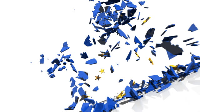MS PAN Shot of twelve gold stars from EU flag crash into 3D map of European Union, shattering it into pieces that fall to floor