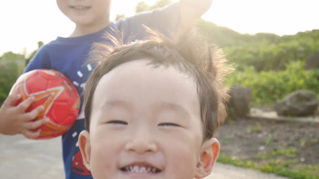 Shot of two smiling children's faces