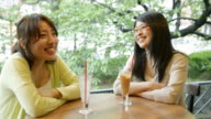 MS Shot of two women are talking happily in café / Kyoto, Japan
