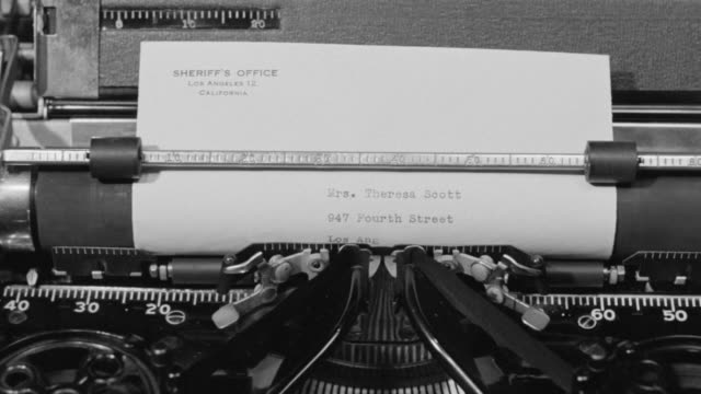 CU POV Shot of typewriter in operation