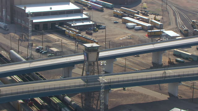 MS AERIAL TS DS Shot of Union Pacific tower and bridge at Cheyenne UP Railroad Depot  / Wyoming, United States