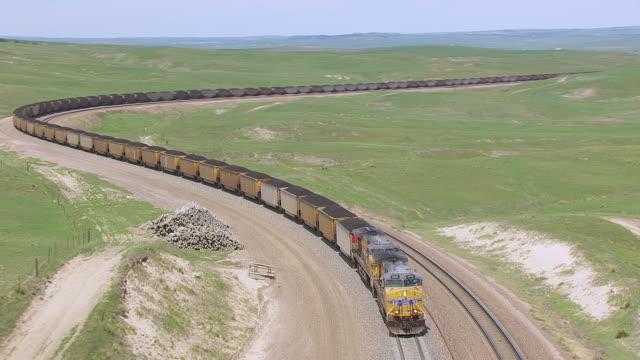 CU AERIAL TS ZO Shot of Union Pacific train moving/ Alliance, Nebraska, United States