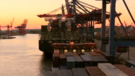 MS Shot of unloading containers in container ship on container terminal in harbour at sunset / Hamburg, Germany