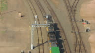 MS AERIAL ZO TS Shot of UP train at Cheyenne UP Railroad Depot / Wyoming, United States