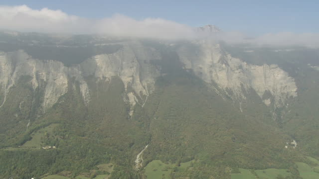 WS AERIAL Shot of Valley near Grenoble / Rhone Alpes, France