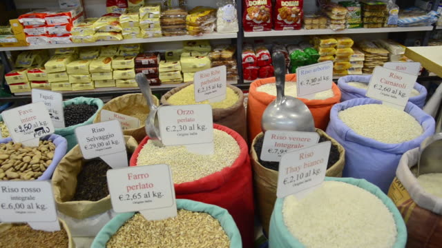 MS PAN Shot of Various legumes, Rice, Farro, Fave in Ambrogio market / Florence, Tuscany, Italy