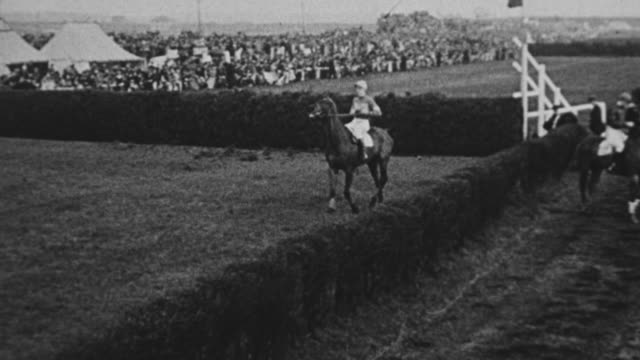 MS TS Shot of various shots of Grand National Steeple Chase Horse racing