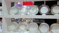 MS PAN Shot of various tableware at trade shows / Xian, Shaanxi, China