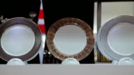 CU ZO Shot of various tableware at trade shows / Xian, Shaanxi, China