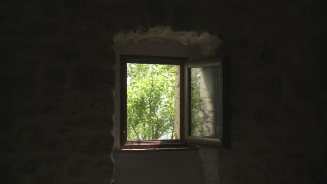 MS Shot of vegetation through window / Rocca Calascio, Abruzzo, Italie