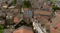 MS AERIAL Shot of village and village square / Appenzell, Appenzell Innerrhoden, Switzerland