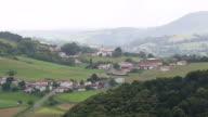 WS AERIAL Shot of village at Pyrenees / Midi Pyrenees, France