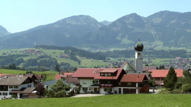 MS Shot of village near Oberstdorf near Allgau Alps / Schollang, Bavaria, Germany