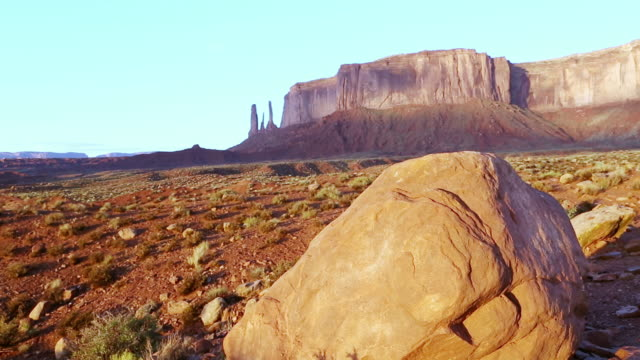 MS Shot of warm landscape of monument valley / Monument Valley, Utah, United States