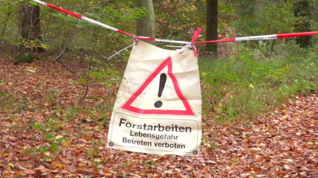 CS Shot of warning sign in woodland at logging works / Freudenburg, Rhineland Palatinate, Germany