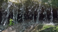 CU SLO MO Shot of waterfall in east of France / Ribeauville, Alsace, France