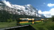 WS Shot of Wengernalp railway and Eiger / Grindelwald, Bernese Oberland, Switzerland
