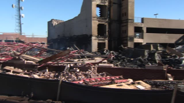 A shot of what remains of a Maplewood NJ apartment complex that burned down