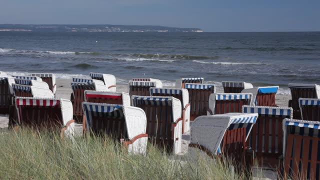 MS Shot of Wicker beach chairs and Baltic Sea / Binz, Island of RÌ_gen, Mecklenburg Vorpommern, Germany