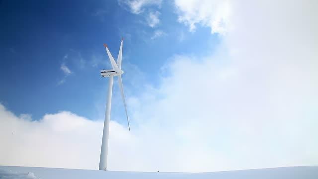 MS L Shot of Wind power station at Pyeongchang / Pyeongchanggun, Gangwondo, South Korea