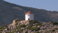 MS Shot of Windmill at Panormitis / Symi, Dodecanese Islands, Greece