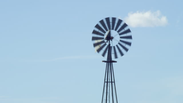 MS Shot of windmill water pump / Raton, New Mexico, United States