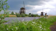WS Shot of windmills near Leidschendam / South Holland, Netherlands