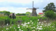 MS Shot of windmills near Leidschendam / South Holland, Netherlands