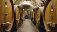 MS Shot of wine barrel in wine cellar / Castellina in Chianti, Tuscany, Italy