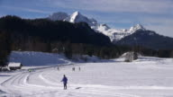 WS Shot of winter sports near Elm au, Werdenfelser Land / Mittenwald, Bavaria, Germany